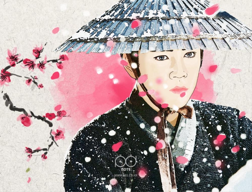 벚꽃잎 날리는 가운데 장근석 그림 이미지