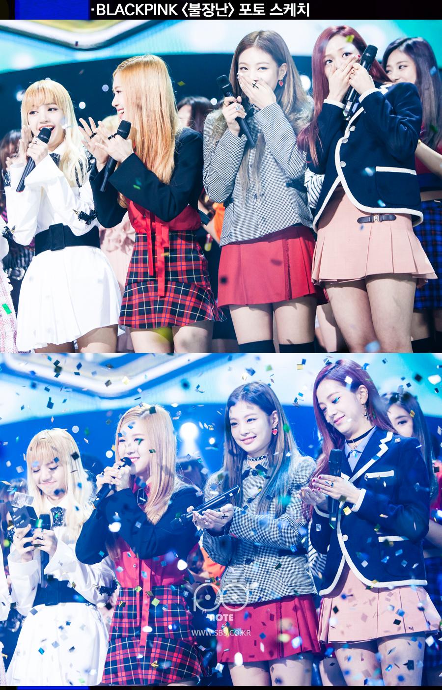블랙핑크 불장난 포토스케치 1위 소감 말하며 기뻐하는 멤버들