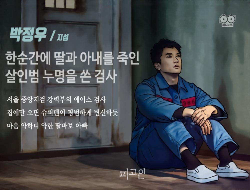 감옥 안에 앉아 있는 정우의 그림. 한순간에 딸과 아내를 죽인 살인범이 된 검사. 이 사건이 있기 전까지 그는 서울 중앙지검 강력부 에이스 검사이자 딸바보였다.