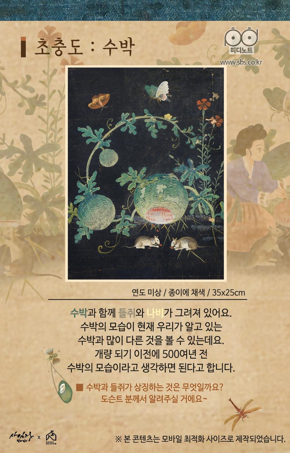 초충도(수박), 수박과 함께 들쥐와 나비가 그려져 있어요, 작품 속 수박은 500여년 전 수박의 모습이라고 생각하면 된다고 합니다.