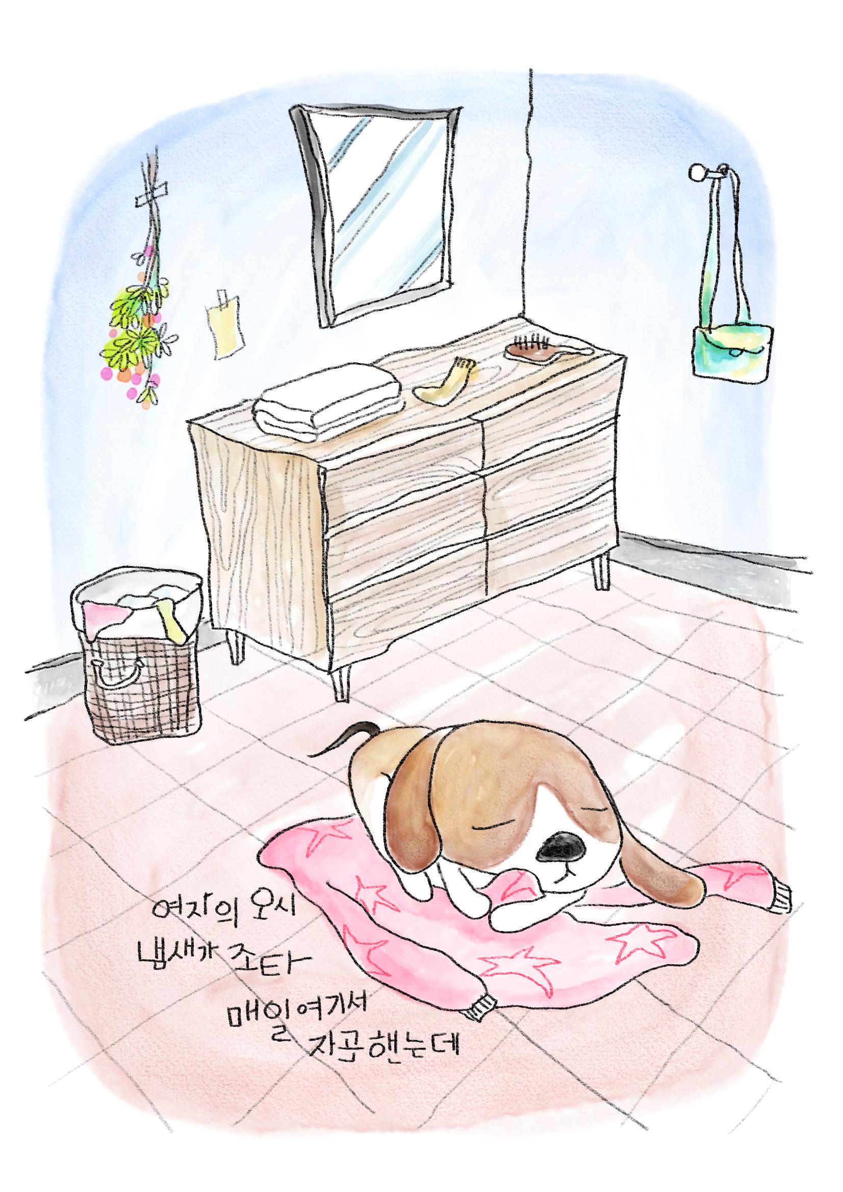 (여자의 옷이 냄새가 좋다, 매일 여기서 자곤 했는데.)