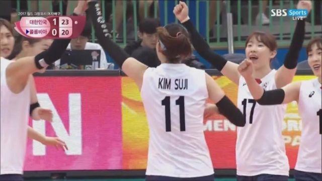 [한국 vs 콜롬비아] '김수지 맹활약' 2세트 가져가... 썸네일 이미지
