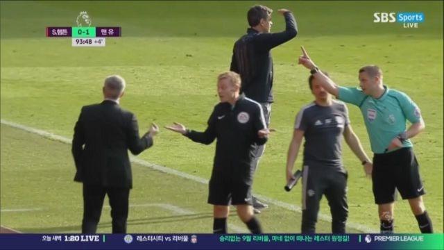 [사우스햄튼 vs 맨유] 경기종료 전에 퇴장당하는 무리... 썸네일 이미지