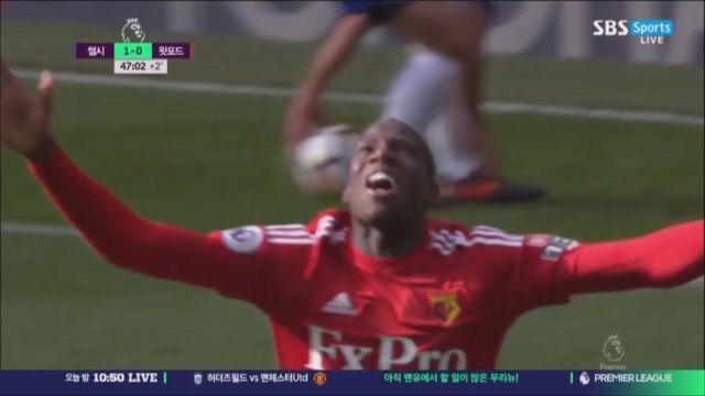 [첼시 vs 왓포드] 전반 종료직전 동점골을 넣는 두쿠... 썸네일 이미지