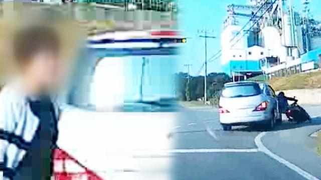 오토바이 치고도 오토바이 운전자를 몰아붙이는 차량 운전자!